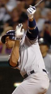 Alex Rodriguez displays a classic follow-through on his second home run of the night in the eighth.