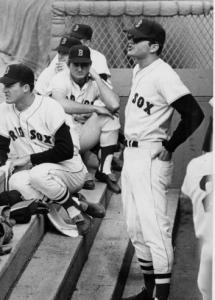 Back in uniform after his injury, Tony Conigliaro leads the cheers from the dugout.
