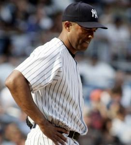 Yankees closer Mariano Rivera wears a weary look after giving up Aubrey Huff's two-run homer in the 10th.