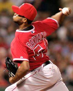 Ervin Santana limited the Red Sox to a run on four hits in 6 1/3 innings in the Angels' nightcap victory.