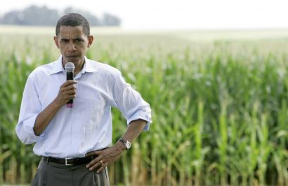 Senator Barack Obama of Illinois spoke to voters last month during a stop at a farm in Adel, Iowa. Through last week, Obama has spent 35 days in Iowa over 20 visits, according to his campaign. Iowa polls show him in a tight race with other Democrats.