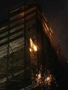 Smoke billowed from the former Deutsche Bank building in New York yesterday. The cause of the fire was unknown.