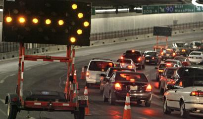 Lanes were closed in the O'Neill Tunnel after a water main break above ground caused icy conditions in January.