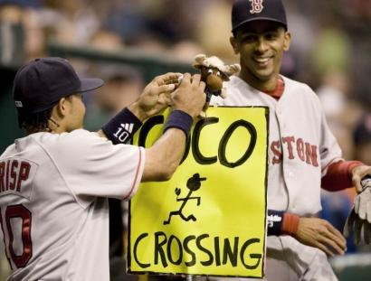 After the recent incident with the reckless Mariner Moose in Seattle, Coco Crisp and Julio Lugo were hoping this makeshift traffic sign next to the dugout at Tropicana Field would avert similar trouble with Tampa Bay's feisty mascot, Raymond.