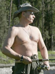 Russian President Vladimir Putin went shirtless for the cameras in Siberia last week.