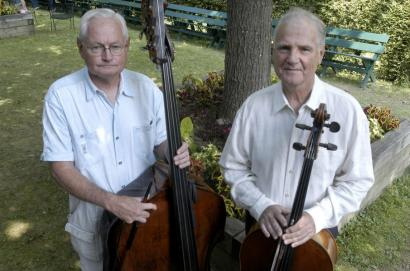 Bassist John Salkowski (left) joined the BSO in 1966 and cellist Luis Leguia joined in 1963.