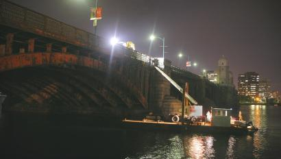 The decorative strips workers took off the Longfellow Bridge last night are 3 feet long and weigh 200 pounds each.