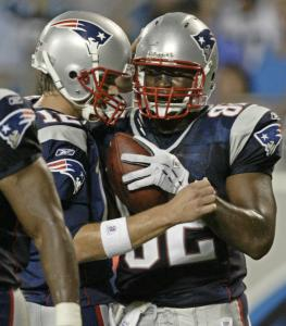 Marcellus Rivers was the recipient of a Tom Brady touchdown pass in the first half that gave the Patriots a 10-0 lead.