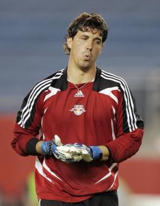 Red Bulls keeper Jon Conway is alone with his thoughts after he misjudged a pass, resulting in an embarrassing own goal.