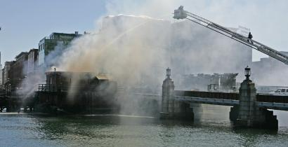 Firefighters responded to a two-alarm fire at the Boston Tea Party Ship & Museum yesterday.
