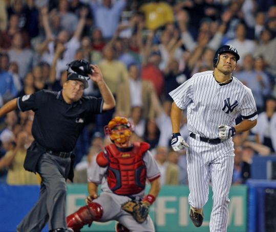 Slowed by injuries much of the season, Johnny Damon grabbed center stage again, hitting a go-ahead, two-run home run in the seventh inning.