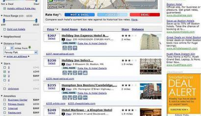 In addition to Boston, Farecast.com is launching hotel guides to 29 other destinations, including New York (top left), Los Angeles (top right), Seattle (above left), and Chicago.
