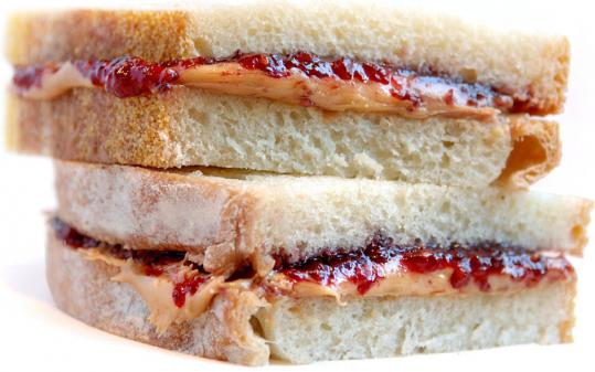 Flour Bakery + Cafe's raspberry jam, smooth peanut butter, and fresh-baked white bread sandwich.