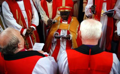 Former Episcopal priests Will G. Atwood III (left) of Texas and William L. Murdoch (right) of Massachusetts were questioned in Nairobi last week by Archbishop Benjamin Nzimbi as they were consecrated bishops of the Anglican Church of Kenya.