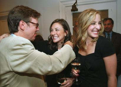 Abigail Jones (right) and Marissa Miley, with their editor, David Highfill, at their recent book party.