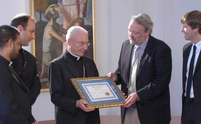 Cardinal Paul Poupard accepted a donation from Planktos/KlimaFa managing director Russ George on July 5. The firm will plant a forest to offset Vatican carbon emissions.