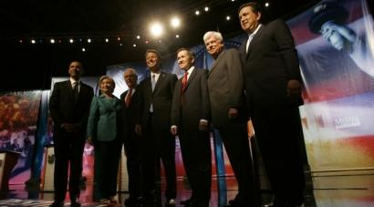 Barack Obama, Hillary Clinton, Mike Gravel, John Edwards, Dennis Kucinich, Chris Dodd, and Bill Richardson before last night's debate, which was aired by Univision, the US's largest Spanish-language network. Joseph Biden could not attend.