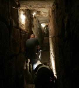 An Israeli archeologist walked in a tunnel discovered near Jerusalem's Old City.