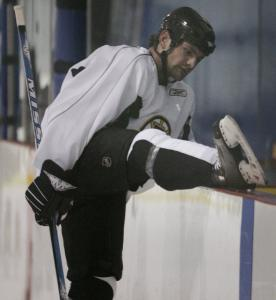 Dennis Wideman was among the Bruins who got a leg up on training camp by working out yesterday in Wilmington.