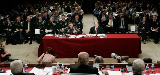 General David H. Petraeus and Ryan C. Crocker warned the Senate Foreign Relations Committee of an Iranian threat to US interests in Iraq as they testified again on Capitol Hill. Later they appeared before the Senate Armed Services Committee.