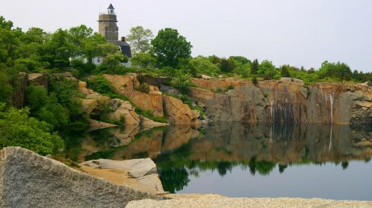 The Babson Farm Quarry pit, closed in 1929 and now filled with water, at Halibut Point State Park in Rockport.