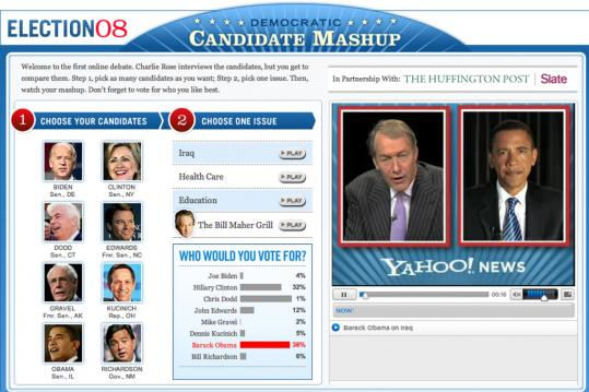 Viewers of the 'Democratic Candidate Mashup' on Yahoo's website pick candidates and topics, and listen to recorded answers. The experiment is aimed at people not interested in TV debates.