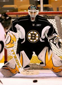 Newly acquired goalie Manny Fernandez keeps his eye on the prize during Bruins training camp yesterday.