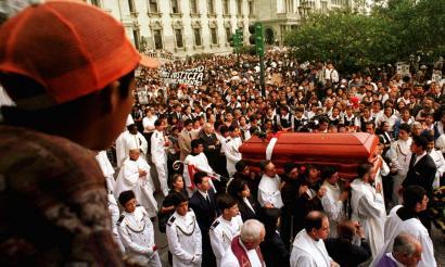 The funeral procession for Bishop Juan Gerardi, passing through Guatemala City's main square, April 29, 1998.