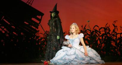 Victoria Matlock (left) as Elphaba and Christina DeCicco as Glinda in 'Wicked.'