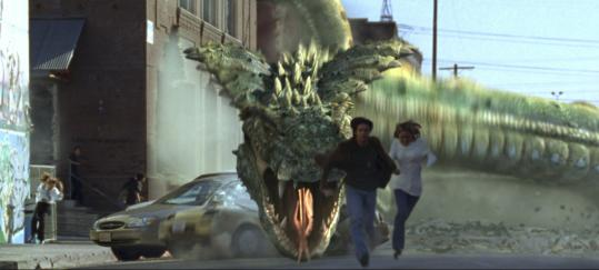 A giant snake and prehistoric dino-birds invade Los Angeles in 'Dragon Wars,' a movie written and directed by Shim Hyung-Rae.