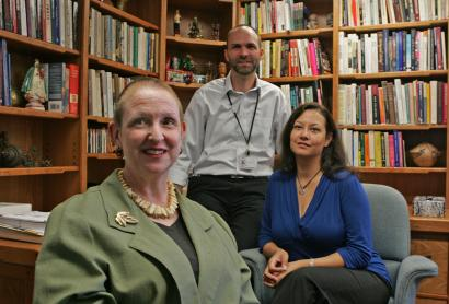 The Boston Healing Landscape Project tries to sensitize doctors to immigrants' traditional and religious approaches to healing. Linda Barnes (left) is the project's director, and Lance Laird and Justine de Marrais are integral members and contributors.