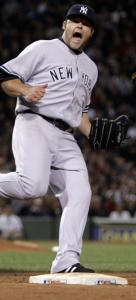 Reliever Joba Chamberlain celebrates after escaping a seventh-inning jam.