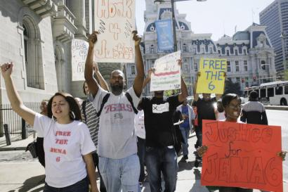 Students from the Black Student Union at Temple University marched on behalf of the