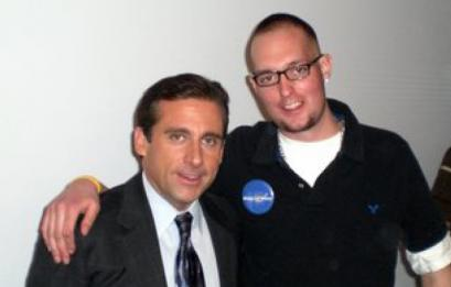 Zachary Carson (right) with actor Steve Carell.