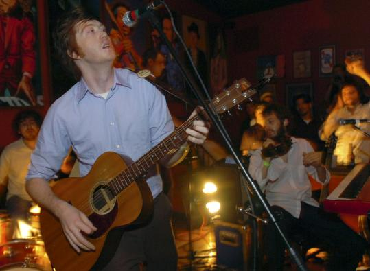 Okkervil River, with Will Sheff (above, in Providence in July) on lead vocals, comes to the Middle East Tuesday.
