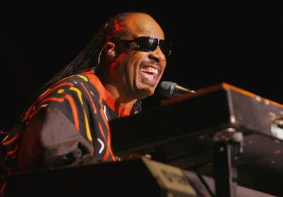 Stevie Wonder sings during a tour de force performance at the Bank of America Pavilion last night.