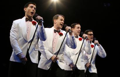 From left: J.D. Daw, Chris Crouch, Adam Halpin, and Kevin Vortmann sing songs of the '50s.
