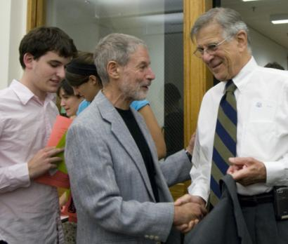 US Representative Pete Stark (right), a Unitarian, was greeted yesterday at Harvard University by Herb Silverman, president of the Secular Coalition for America.