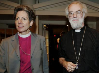 Presiding Bishop Katharine Jefferts Schori and the Archbishop of Canterbury, Rowan Williams, spoke to reporters yesterday after a morning of meetings in New Orleans.