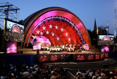 With the predicted rise of the Charles River due to global warming, performances such as those of the Boston Pops would not occur because the Hatch Shell would be submerged.