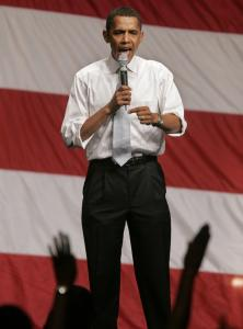 Democratic presidential hopeful Barack Obama spoke at a rally Thursday in Atlanta. Obama has tried to distinguish himself from rival Hillary Clinton by criticizing her ties to lobbyists.