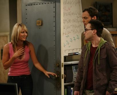 Kaley Cuoco costars with Johnny Galecki (front right) and Jim Parsons in CBS's new sitcom 'The Big Bang Theory.'