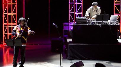 Daniel Bernard Roumain (left) and DJ Scientific perform 'Sonata for Violin and Turntables' Saturday at the ICA.