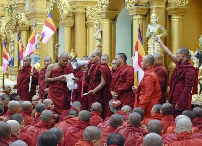 About 10,000 Buddhist monks gathered at the famous Shwedagon Pagoda in Rangoon before marching downtown yesterday.