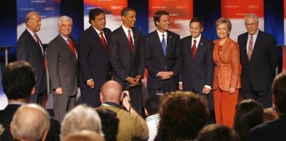 Candidates (from left) Senator Joseph Biden, Senator Christopher Dodd, Governor Bill Richardson, Senator Barack Obama, former senator John Edwards, Representative Dennis Kucinich, Senator Hillary Clinton, and former senator Mike Gravel.
