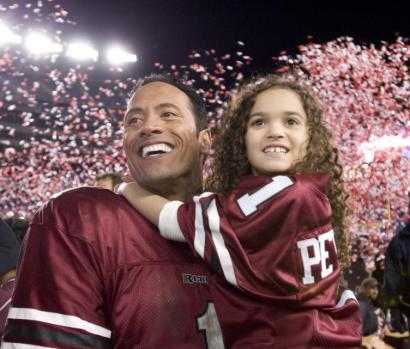 Dwayne 'The Rock' Johnson plays a quarterback for a Boston team and Madison Pettis is his daughter in 'The Game Plan.'