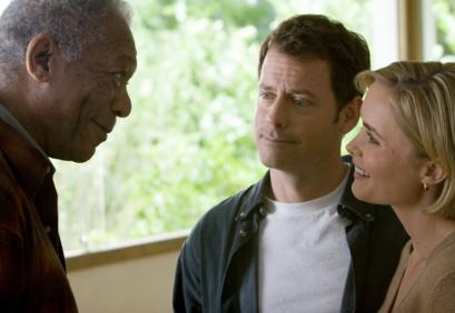 From left: Morgan Freeman, Greg Kinnear, and Radha Mitchell star in Robert Benton's 'Feast of Love.'