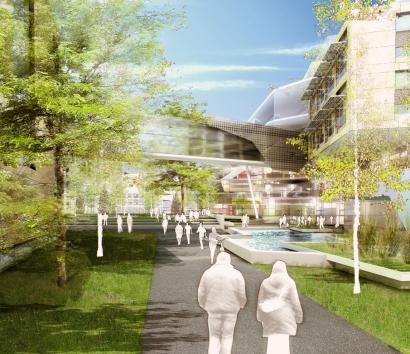 Behnisch Architects' proposed design for Harvard's Allston Science Complex (rendering above) is featured in the exhibition 'Ecology.Design.Synergy.'