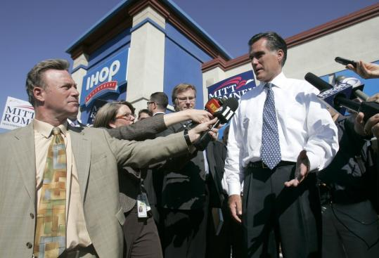 Republican presidential candidate Mitt Romney, shown on the trail in Sacramento yesterday, has invested heavily in New Hampshire, spending $1.7 million in television ads there and making many more campaign stops there than his rivals this year.