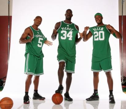 The Celtics are stressing team harmony this season so it doesn't matter what jerseys Ray Allen (left), Kevin Garnett (center), and Paul Pierce wear as long as the numbers add up to a title.